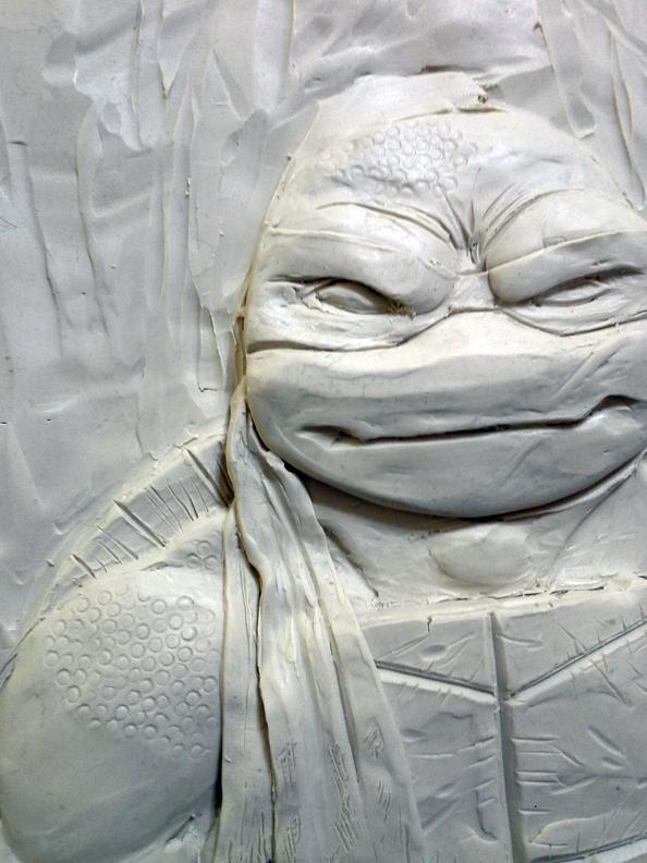 Raph relief  sculpture WIP by Ninja-Turtles