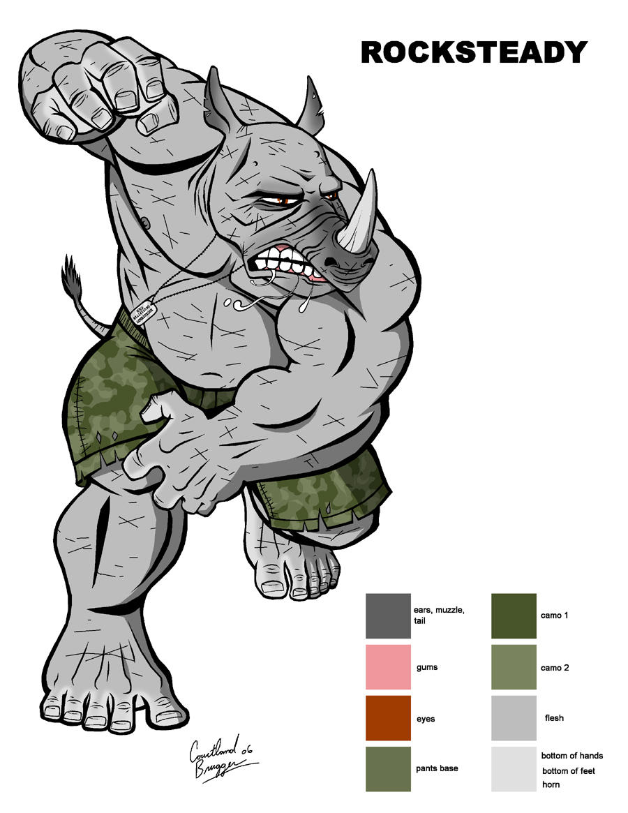 rocksteady color sheet by ninja turtles on deviantart