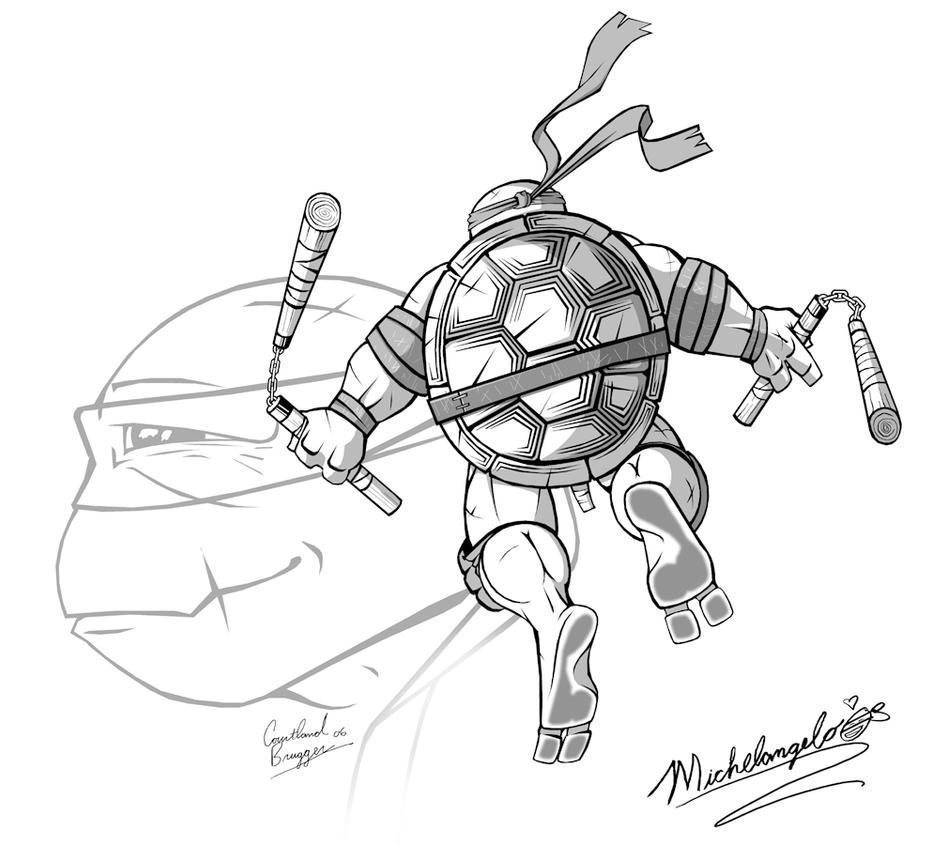 Line Art Ninja Turtles : From mikey with love by ninja turtles on deviantart
