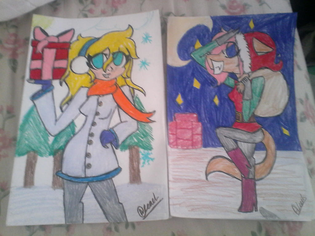 first two christmas cards done by Illiterate-Swine