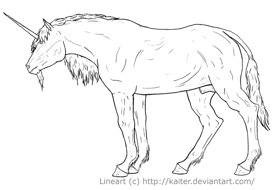Unicorn Lineart : Unkown unicorn lineart by kaiter on deviantart