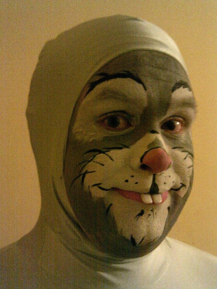 Grey Rabbit Face Paint   Side View By Legendbourne ...