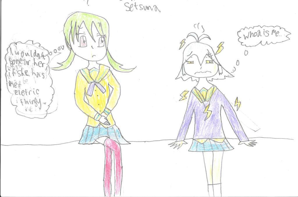 Xmas AT: Umiko nervous around Setsuna by HTC-Master