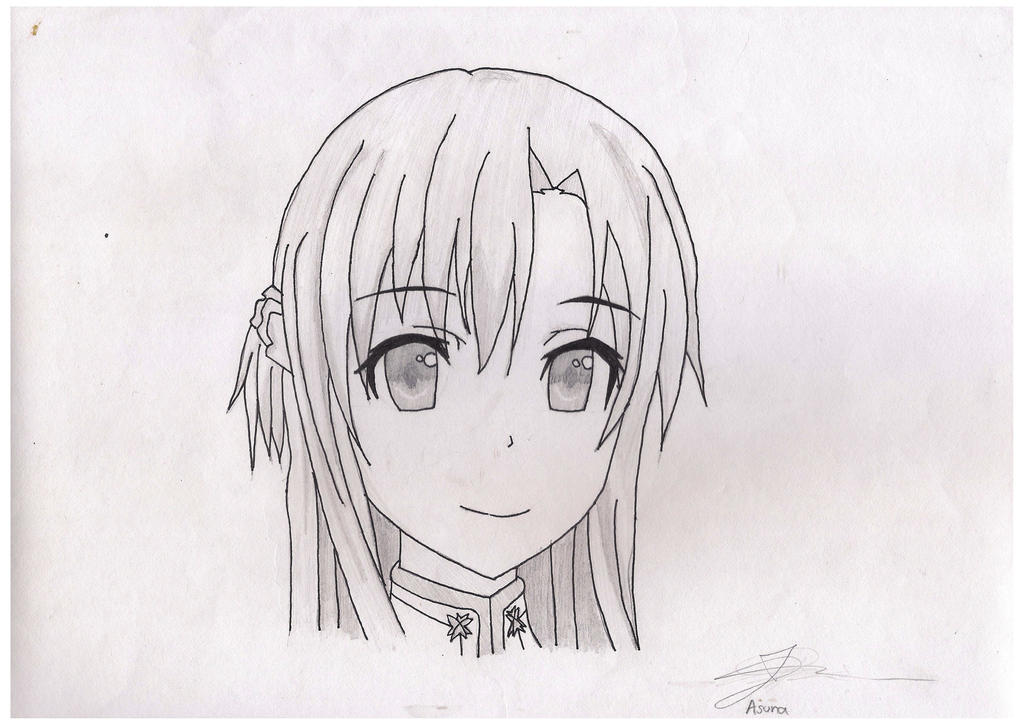 Anime drawing asuna sword art online by aesges