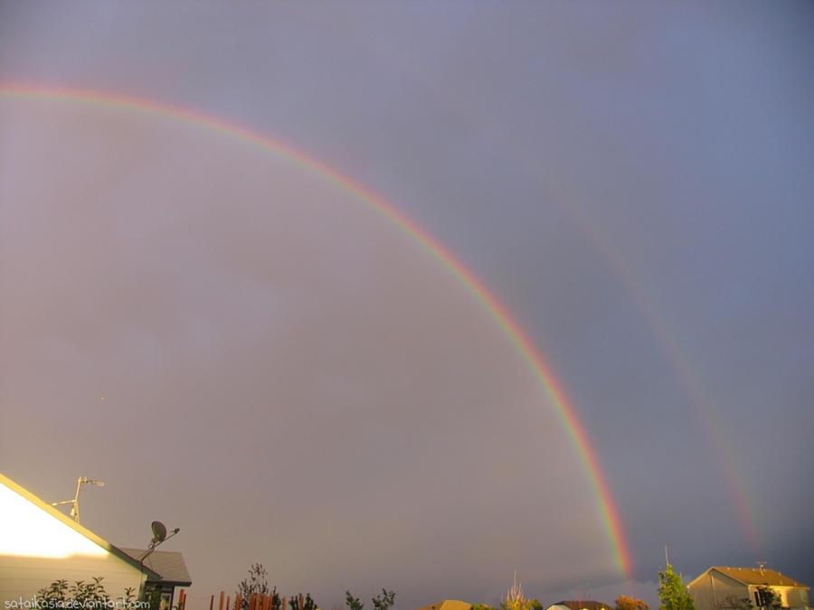 double rainbow sunshowers by sataikasia