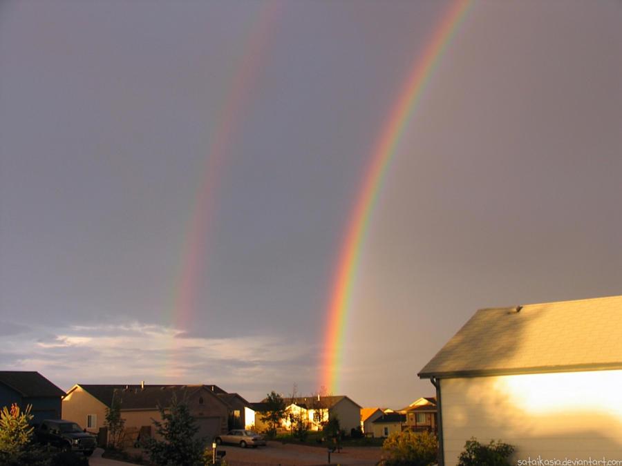 double rainbow skies by sataikasia