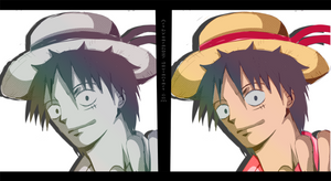 Luffy Sketch and Color