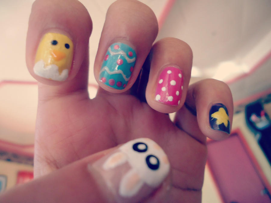 Pictures of nail art for easter : Easter nail art by ohohmaia on deviantart