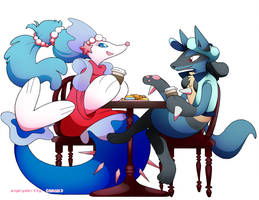 [Commission] Primarina and Lucario by Katarinu