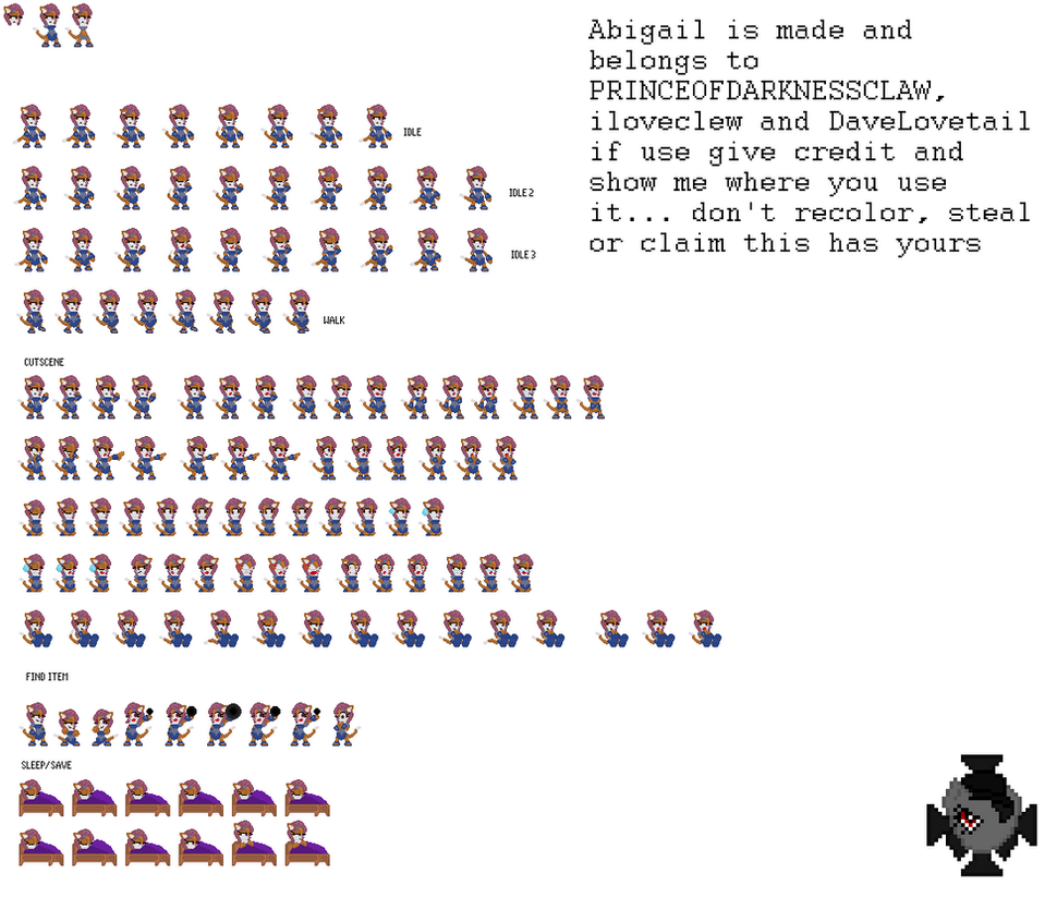 Abigail sprite sheet outside fight not done yet by PRINCEOFDARKNESSCLAW