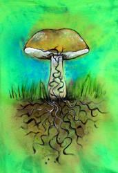 Bolete Mycelium Shirt by iscaylis