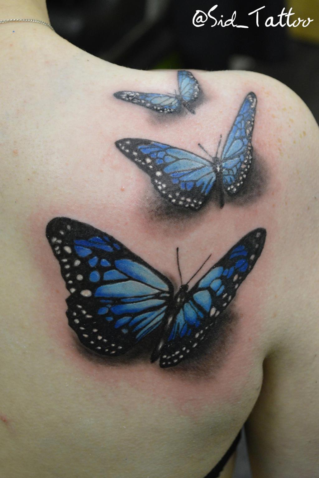 9e5de27b30fb9 Realistic blue butterfly tattoo - photo#8