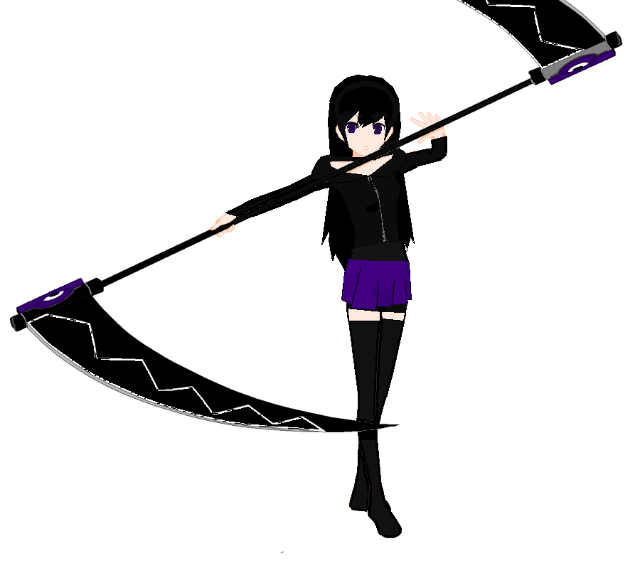 anime girl with black hair purple eyes and double by