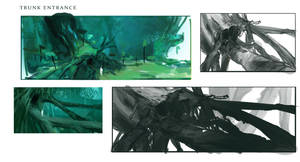 Wind - Tree root entrance sketches