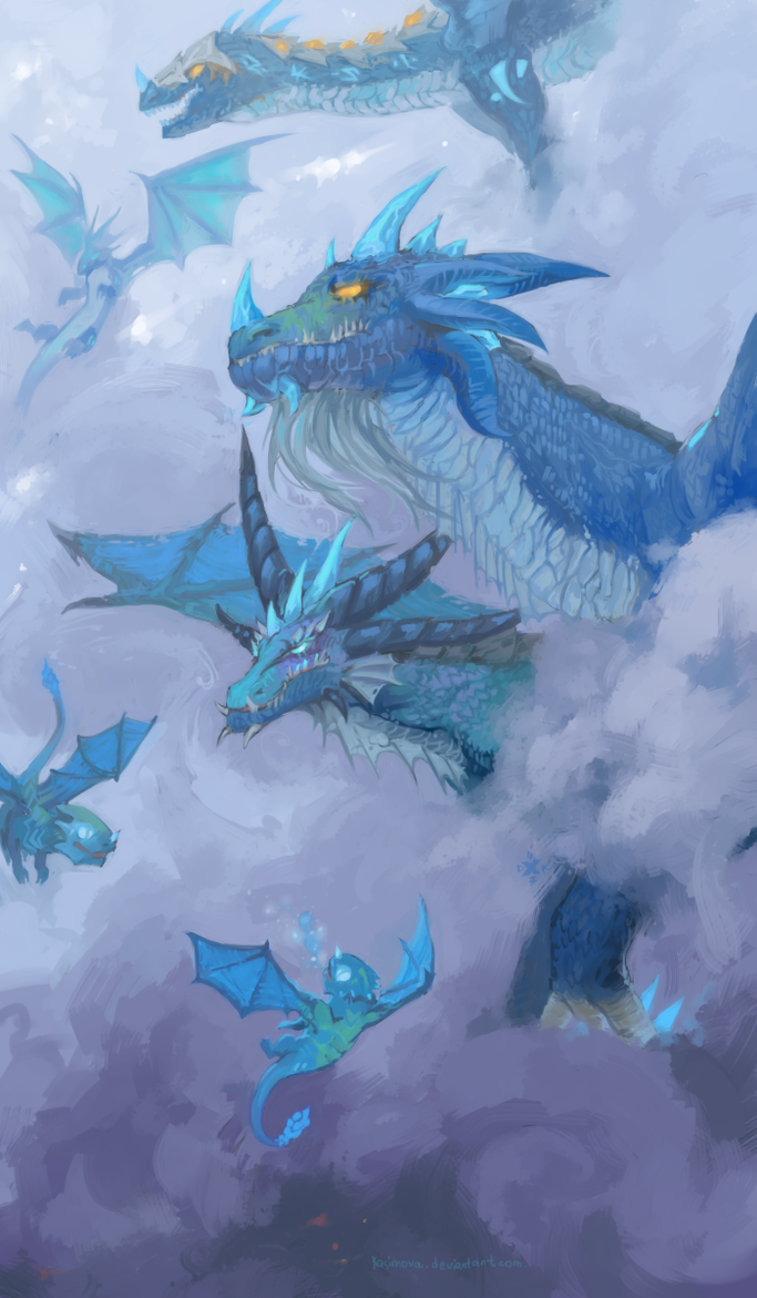 Flock of blue dragons by Kasimova