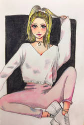 Watercolor pink girl