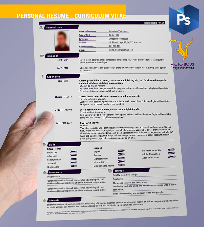 resource  personal resume   curriculum vitae by victoriousd on    resource  personal resume   curriculum vitae by victoriousd