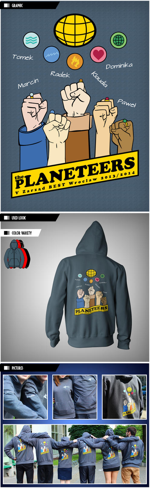 Hoodie: The Planeteers - #1 Raised Hands by VictoriousD
