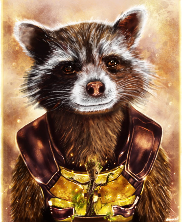 Guardians Of The Galaxy - Rocket and baby Groot by p1xer