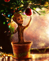 Christmas Groot by p1xer