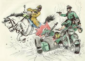 Polish lancer vs german motorcycle 1939