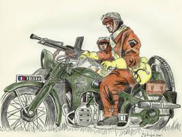 French Dragoon at motorcycle 1940