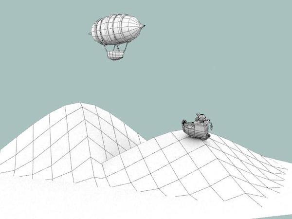 Scene, boat + zeppelin 3D by SFalkon