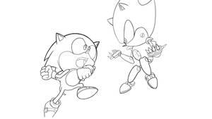 Sonic Vs Metal Lineart No Shading