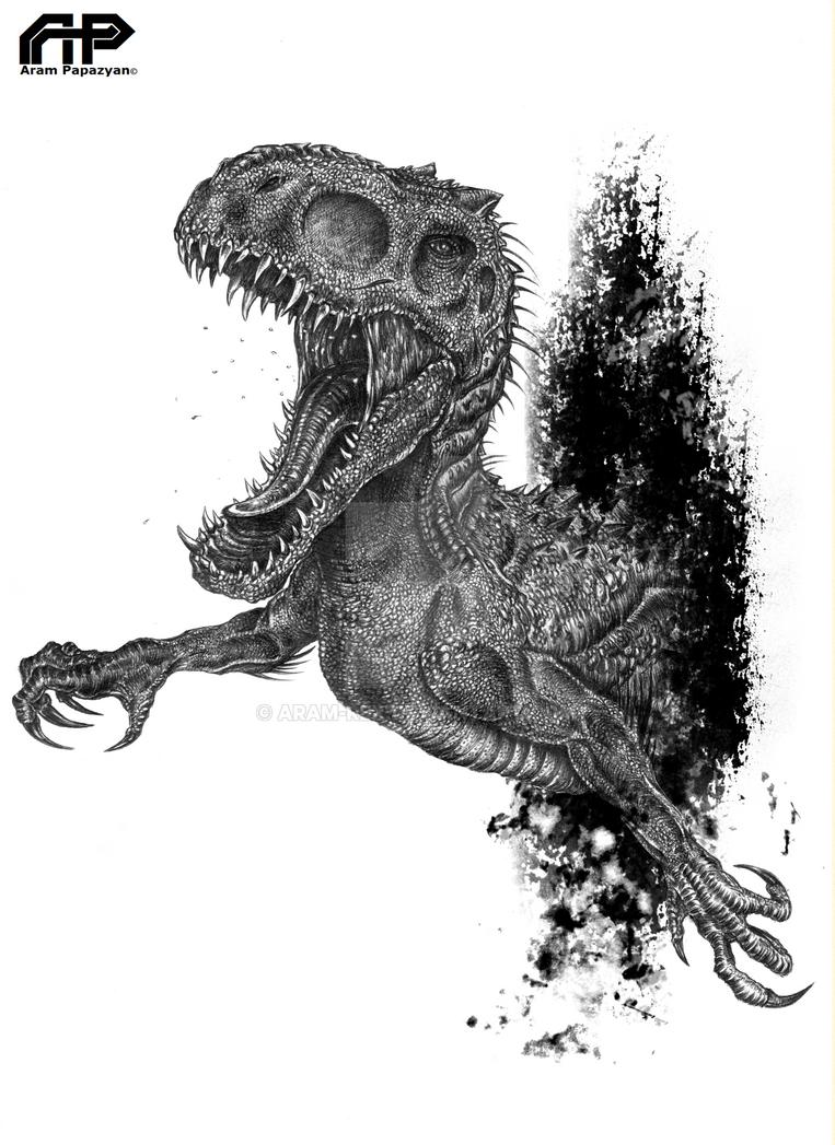 Kleurplaat Jurassic World Indominus Rex Saurier Im Meer Ausmalbild