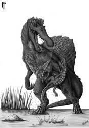 ''SURPRISE!''  Spinosaurus startled by Anatosuchus by Aram-Rex