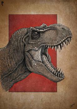 Jurassic Park Tyrannosaur Rex portrait