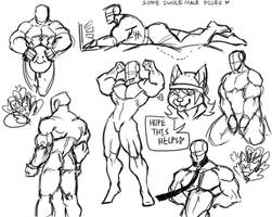 some swole male poses 2 by ShibaThing