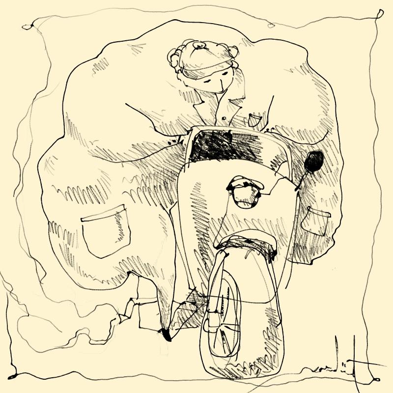 The fatty with a three-wheeler sketch by eskitenekekutu