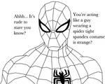 Spiderman Staring.
