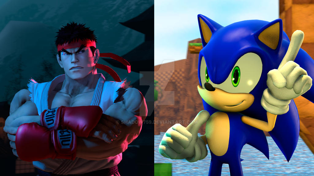 Ryu Vs Sonic Poster Let's Rumble! 3D by shadow759