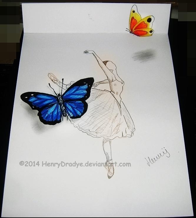Sketch ballerina 3d butterfly by henrydradye