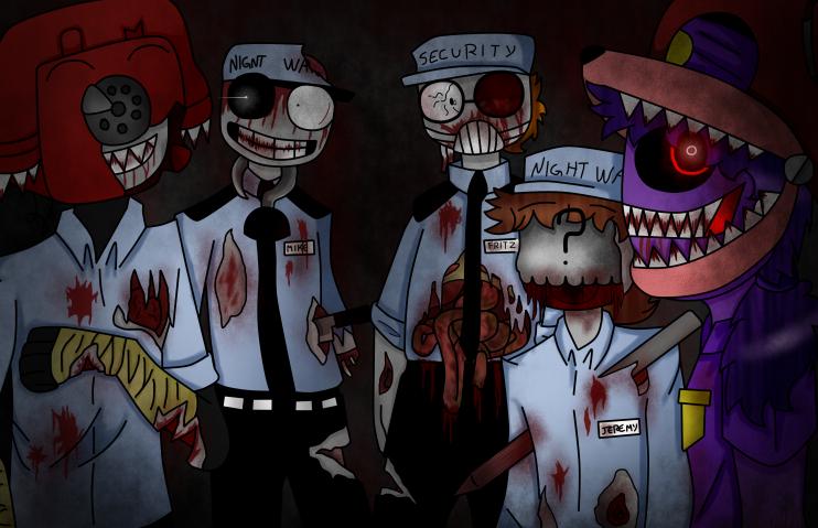 Fnaf zombies guards by tsubasanami on deviantart