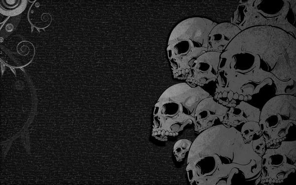 Black Scribble Skulls by Feuerfeder