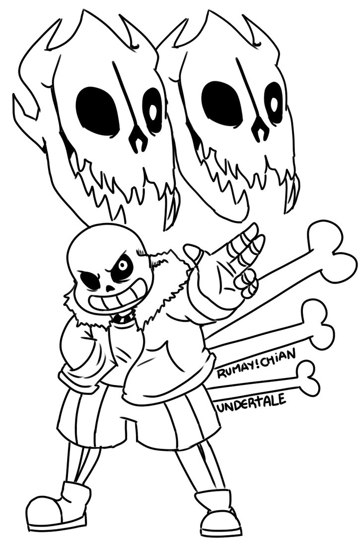 Sans bad time lineart by rumay chian on deviantart for Sans coloring page