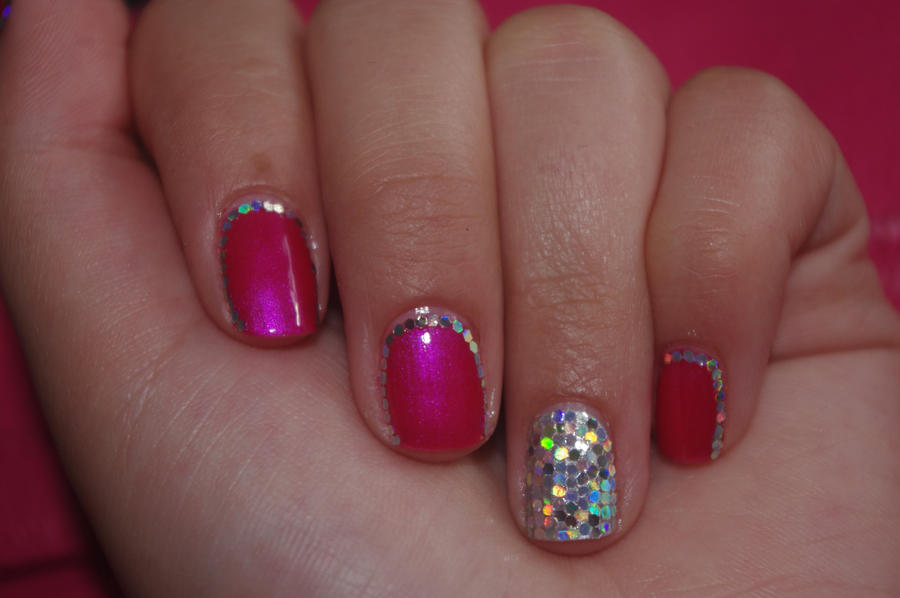 pink and silver nails design 4 by solidadino on DeviantArt