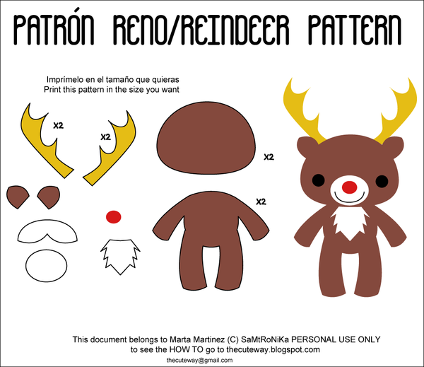 reindeer printable pattern for crafts Car Tuning