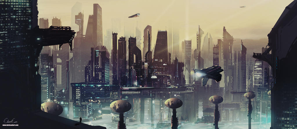 future city concept painting by darksoulart on deviantart