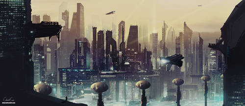 Future City Concept Painting by darksoulart