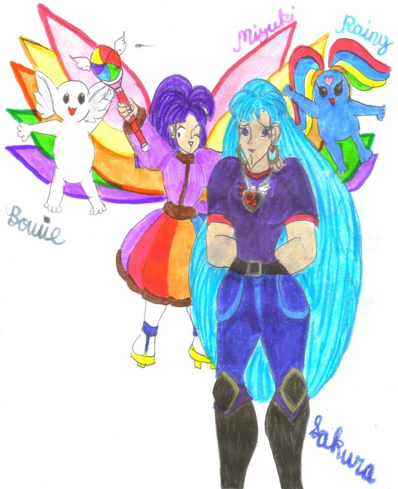 Nana-iro Senshi Mizuki, Sakura, Rainy and Bowie by Clipperwhiz1