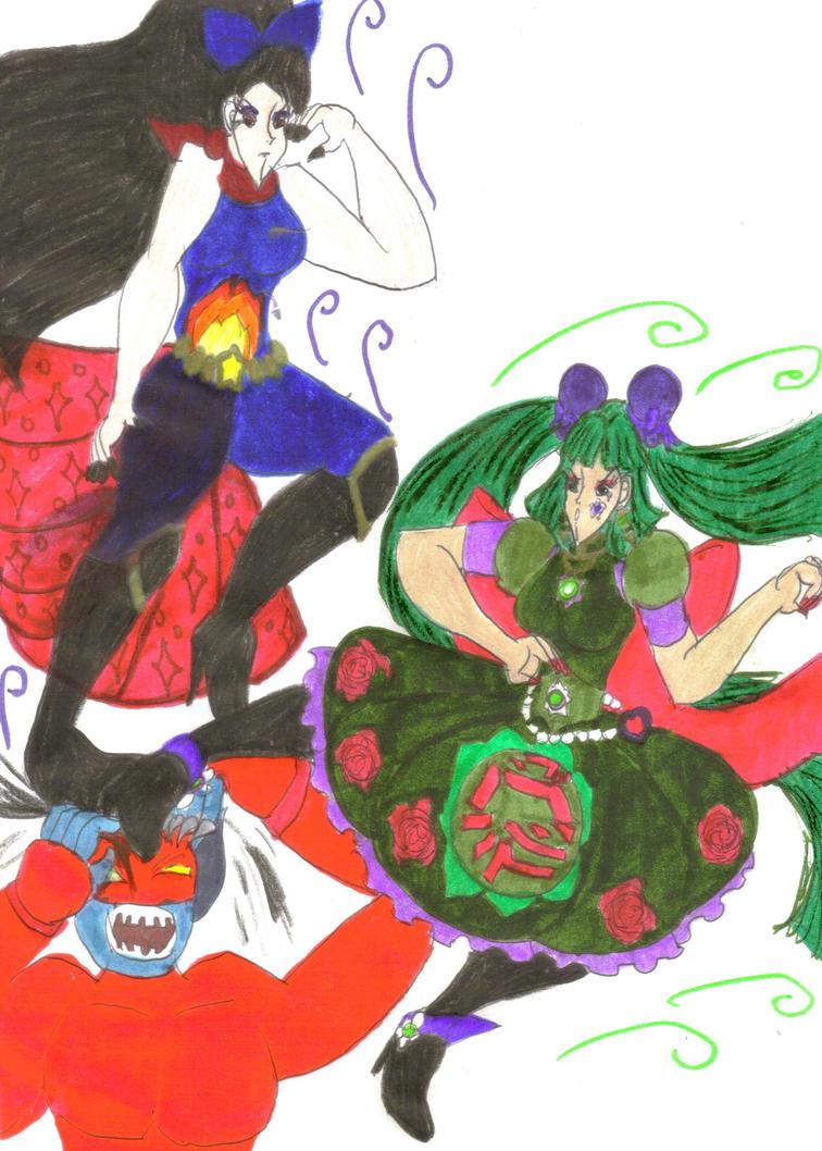 DKS - Sakura and Midori vs. a Ninja Oni by Clipperwhiz1