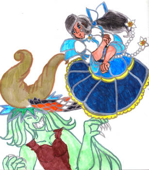 Mer-Miko Nami Fighting a Water Demon by Winter-Colorful
