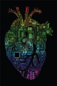 Techno Heart (Rainbow fade on black)