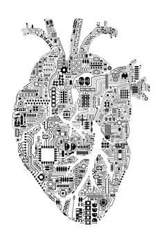 Techno heart black on white