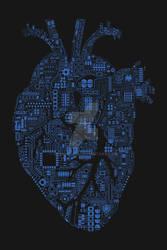 Techno heart blue on darkgrey
