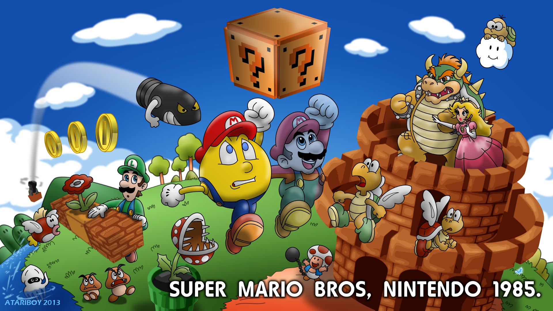 Pacman Fanfic - Super Mario Bros 1985. by Atariboy2600